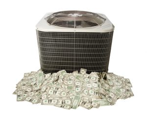 air conditioner sitting on pile of money